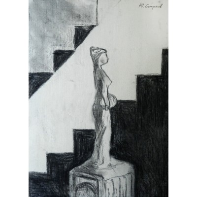 Sculpture of a woman and a staircase